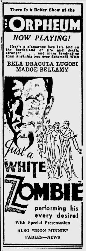 White Zombie, Spokane Daily Chronicle, September 15, 1932