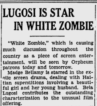 White Zombie, Spokane Daily Chronicle, September 16, 1932 b