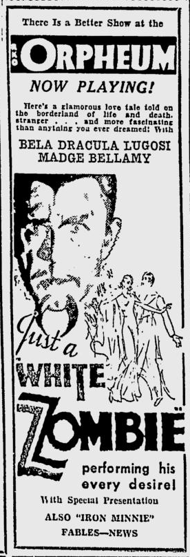 White Zombie, Spokane Daily Chronicle, September 16, 1932
