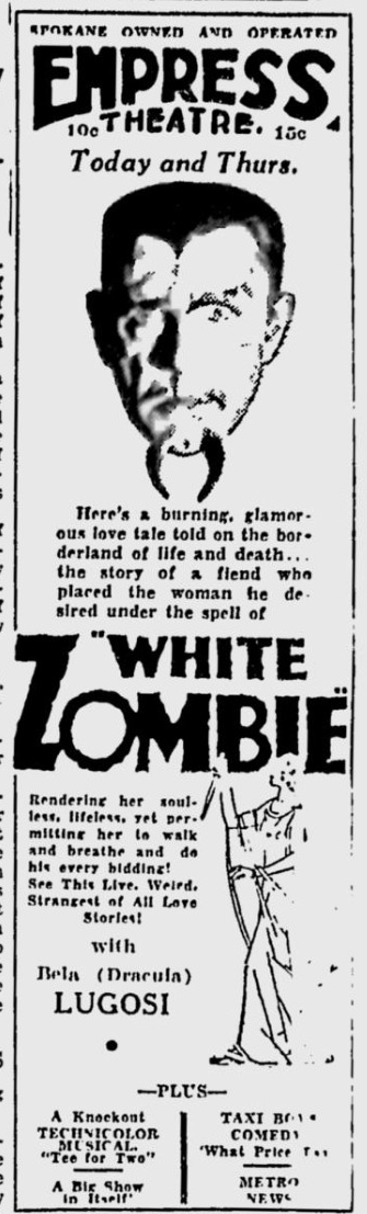 White Zombie, Spokesman-Review, March 24, 1933