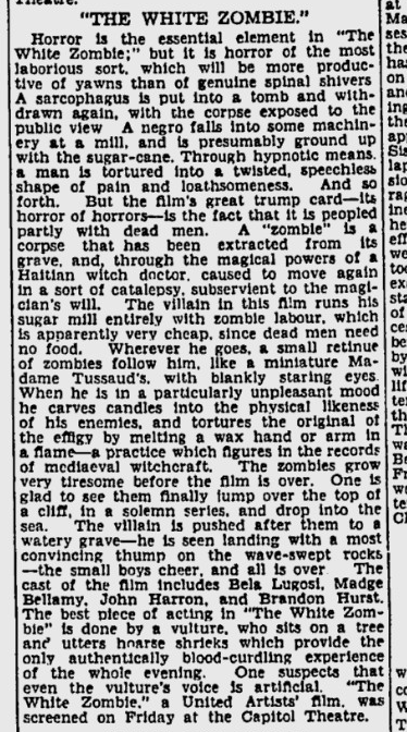 White Zombie, Sydney Morning Herald, October 31, 1932