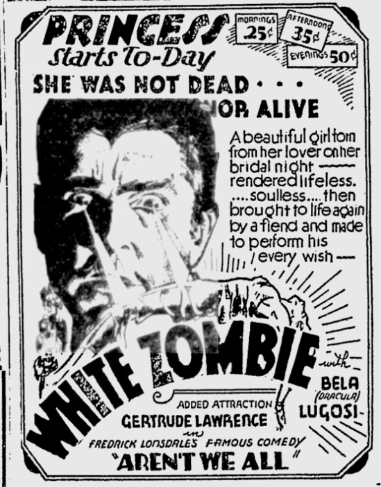 White Zombie, The Montreal Gazette, August 13, 1932