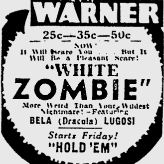 White Zombie, The Pitsburgh Press, September 19, 1932