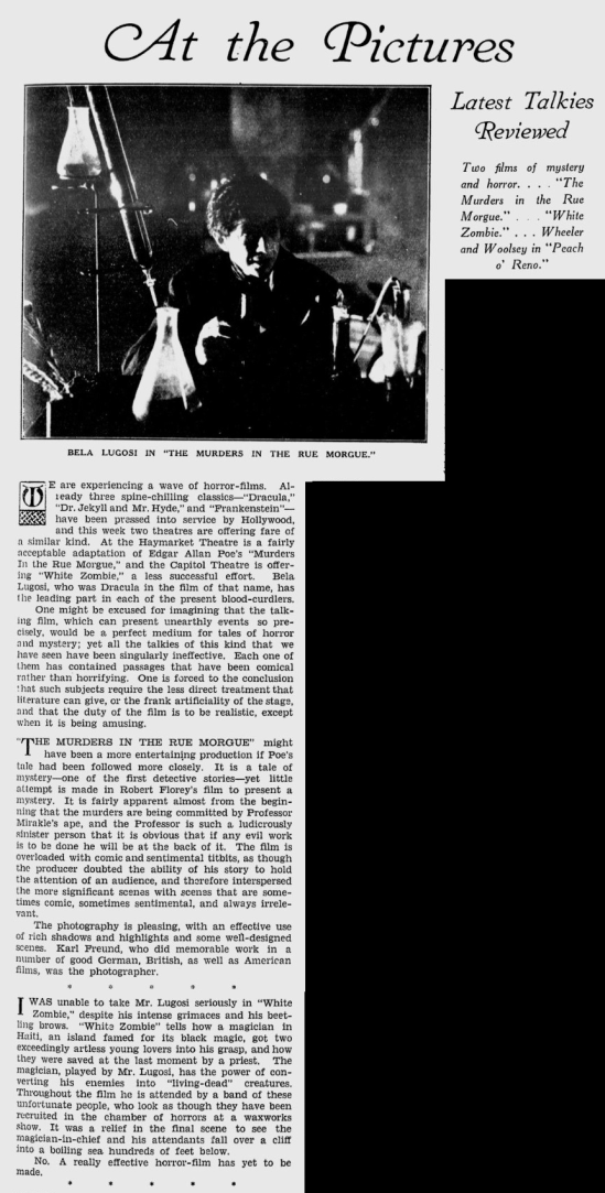 White Zombie, The Sidney Mail, November 2nd, 1932