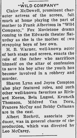 Wild Company, Sarasota Herald-Tribune, September 19, 1930