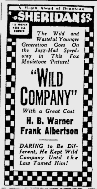 Wild Company, The Pitsburgh Press, July 15, 1930 1