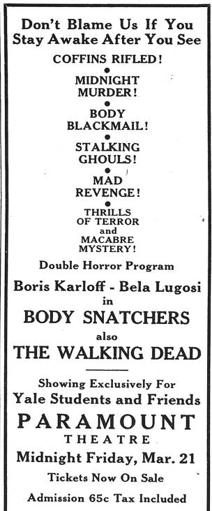 YThe Body Snatcher, Yale Daily News no. 125 March 14 1947 Adv. 20 Page 8