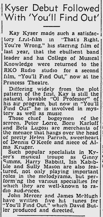 You'll Find Out Montreal Gazette, December 23, 1940