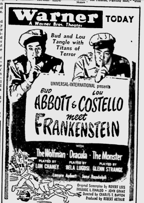Abbott and Costello Meet Frankenstein Youngstown Vindicator, August 18, 1948