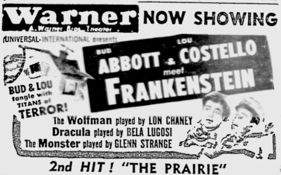 Abbott and Costello Meet Frankenstein Youngstown Vindicator, August 19, 1948