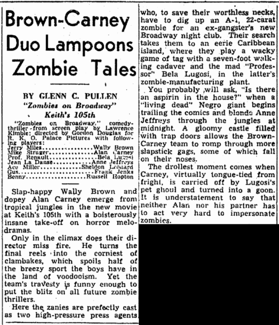 Zombies On Broadway, Cleveland Plain Dealer, May 24, 1945
