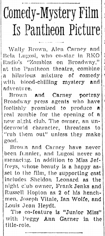 Zombies On Broadway, Daily Illinois State Journal, March 10, 1946 2
