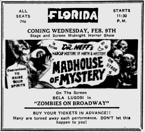 Zombies On Broadway, Sarasota Herald-Tribune, February 6, 1949