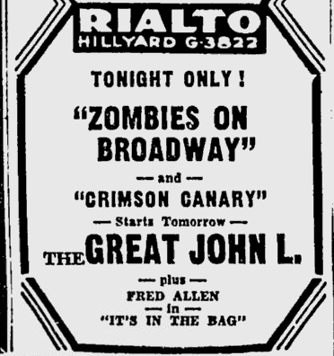 Zombies On Broadway, Spokane Daily Chronicle, February 27, 1946