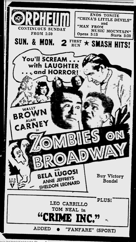 Zombies On Broadway, The Southeast Missourian, November 10, 1945