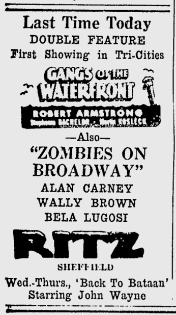 Zombies On Broadway, Times Daily, January 22, 1946