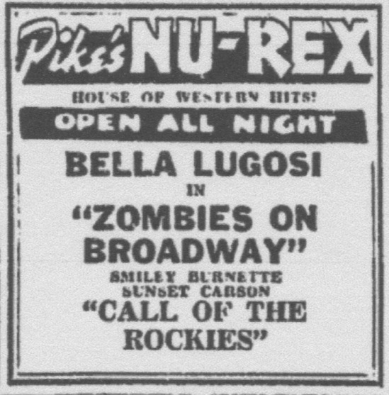 Zombies On Broadway, Unknown Newspaper