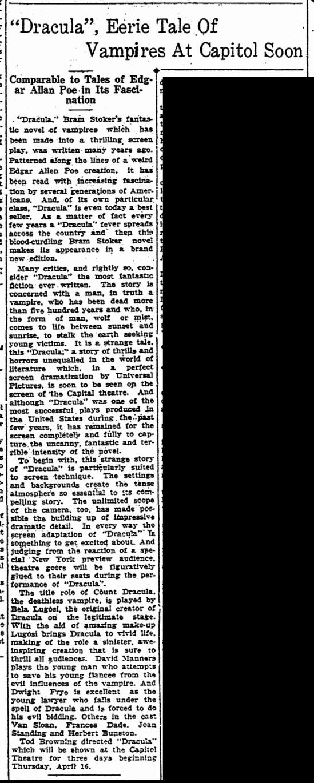 Dracula, Aberdeen Daily News, April 12, 1931