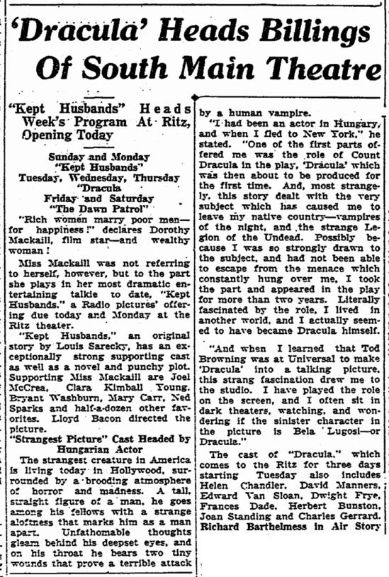 Dracula, Aberdeen Daily News, February 7, 1932