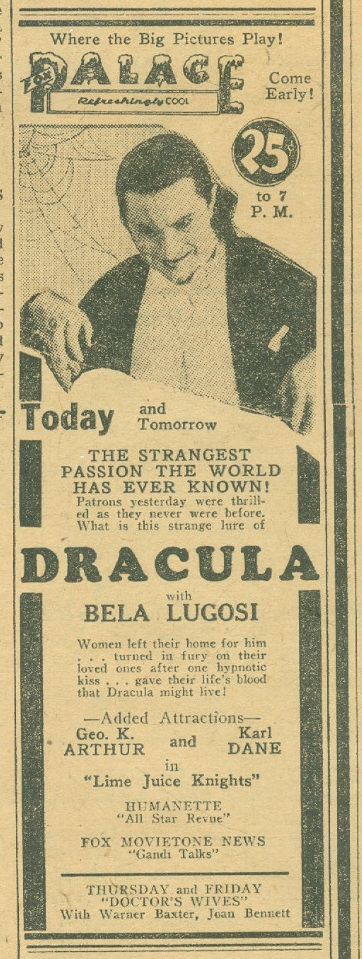 Dracula Ad From The Wisconsin, Daily Journal