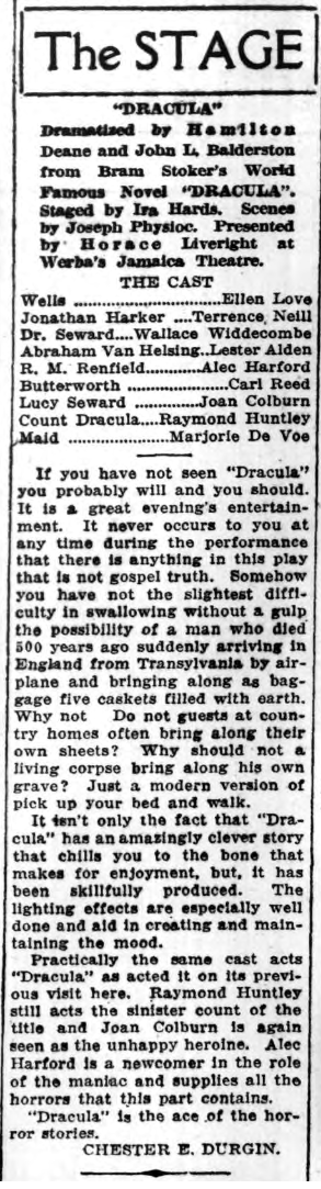 Dracula, Long Island Daily Press, January 21, 1930 1