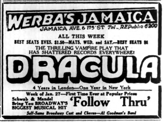 Dracula, Long Island Daily Press, January 21, 1930