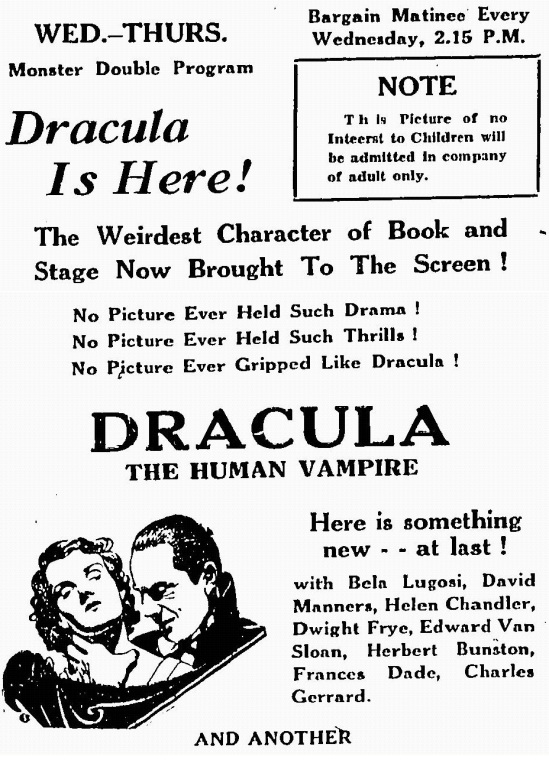 Dracula, The Leamington Post. April 23, 1931