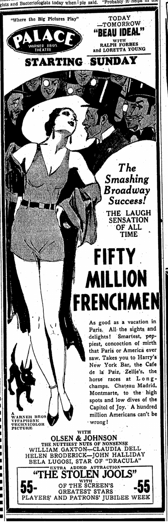 Fifty Million Frenchmen, Canton Repository, April 3, 1931