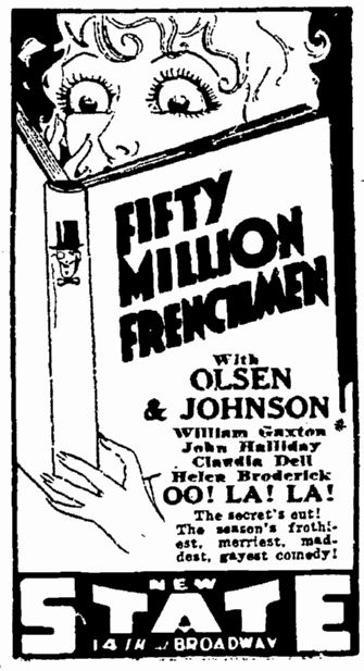 Fifty Million Frenchmen, San Francisco Chronicle, April 5, 1931
