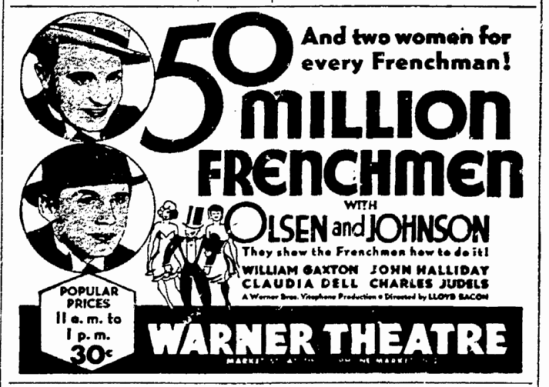 Fifty Million Frenchmen, San Francisco Chronicle, March 24, 1931