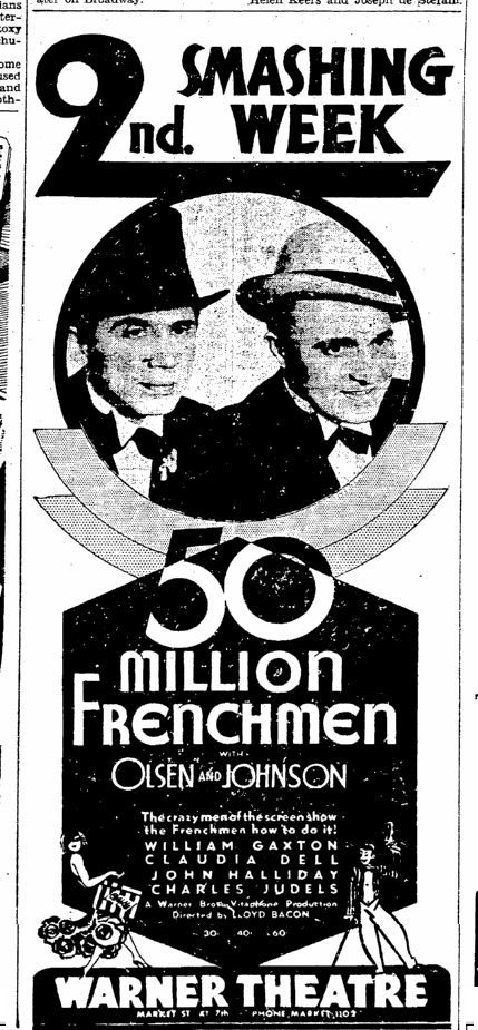 Fifty Million Frenchmen, San Francisco Chronicle,March 27, 1931