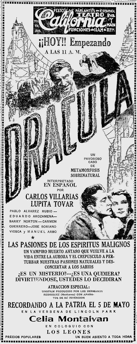 Dracula, La Opinion (Los Angeles), May 7, 1931 - John Donaldson Collection