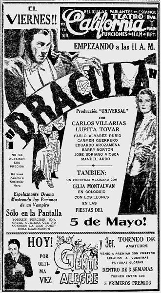 Dracula, La Opinion (Los Angeles), May 8, 1931 - John Donaldson Collection