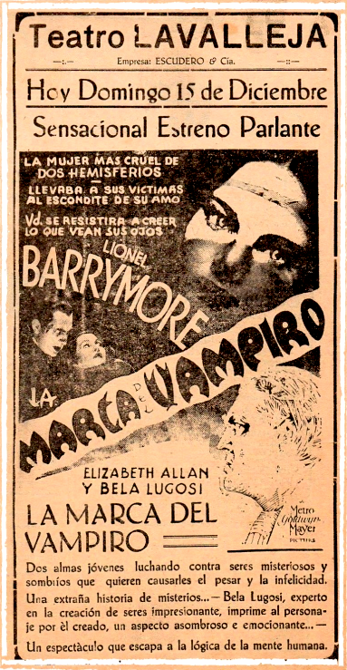 Mark of the Vampire Spanish Newspaper Ad Courtesy of www.facebookhorrorpixfrance