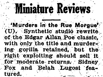 Murders In The Rue Morgue, Variety February 16, 1932 2