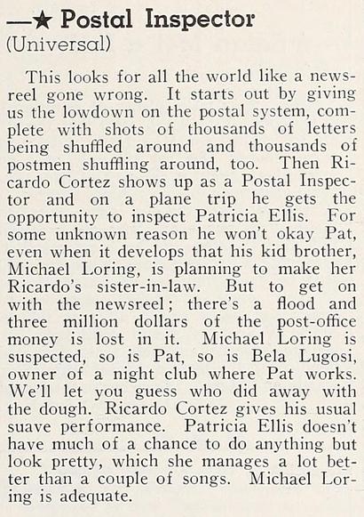 Postal Inspector, Modern Screen, November, 1936