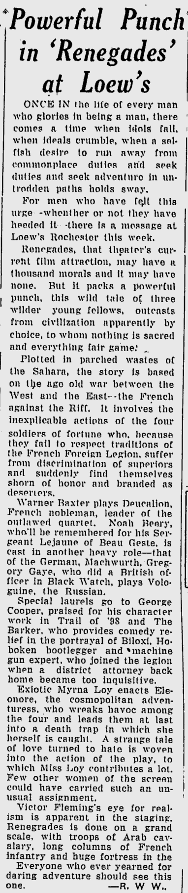 Renegades, Rochester Post Express Evening Journal, November 10, 1930