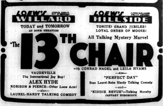 The 13th Chair, Long Island Daily Press, January 16, 1930 2