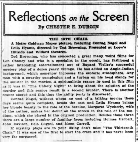 The 13th Chair, Long Island Daily Press, January 16, 1930