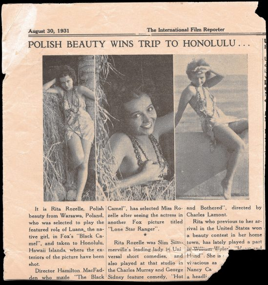 The Black Camel, International Film Reporter, August 30, 1931. Courtesy of JL Barnett, from the collection of makeup artist Charlie Gemora who worked the film.