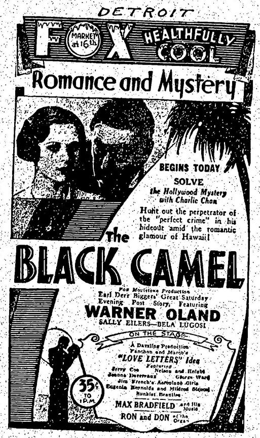 The Black Camel, Variety, July 21, 1931
