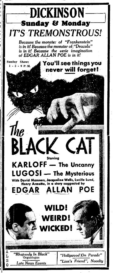 The Black Cat Newspaper Ad