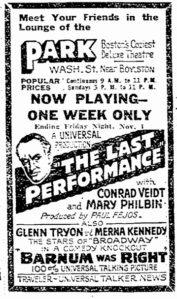 The Last Performance, Boston Herald , October 27, 1929