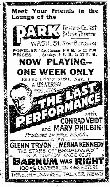 The Last Performance, Boston Herald , October 27, 1929