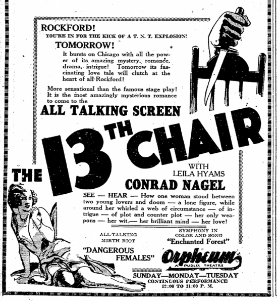 The Thirteenth Chair, Rockford Republic, January 25, 1930