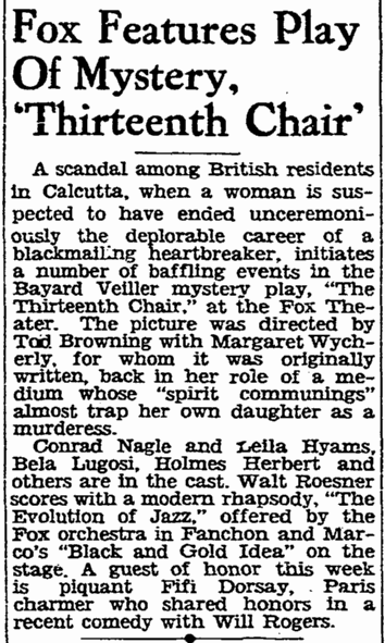 The Thirteenth Chair, San Francisco Chronicle, December 13, 1929