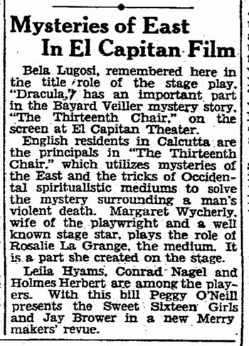 The Thirteenth Chair, San Francisco Chronicle, February 15, 1930