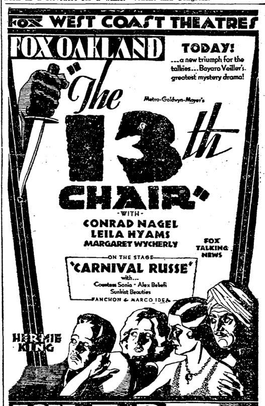 The Thirteenth Chair, San Francisco Chronicle, January 3, 1930