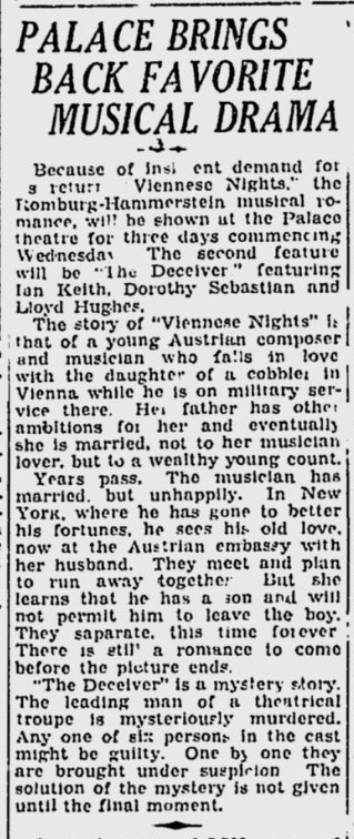 Viennese Nights, Calgary Herald, March 8, 1932