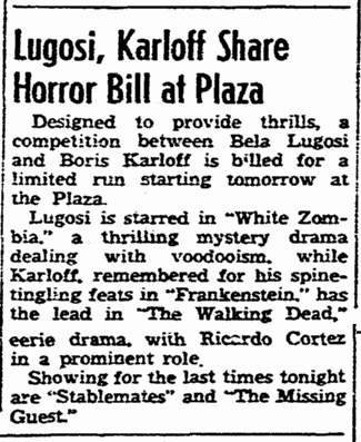 White Zombie 1938, San Diego Union, November 2, 1938 2
